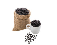 Coffee beans in bag and white coffee cup Stock Photos