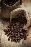 Coffee beans in bag Royalty Free Stock Photo