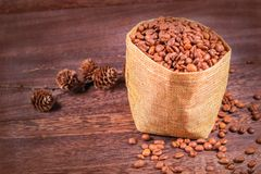 Coffee beans in a bag on wooden background. With copy space Royalty Free Stock Photo