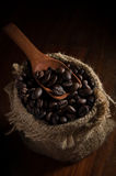 Coffee beans in bag with wooden spoon. Stock Images