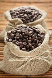 Coffee beans in bag Royalty Free Stock Photos