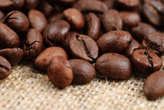 Coffee beans on the bagging Stock Photo