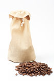 Coffee beans and bags Royalty Free Stock Photos