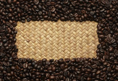 Coffee beans on the bags on the background Royalty Free Stock Photography