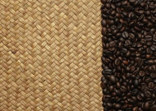 Coffee beans on the bags on the background Royalty Free Stock Image