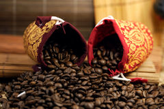Coffee beans bags. Some coffee beans bags in the kitchen interior royalty free stock images