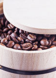 Coffee beans in barrell Royalty Free Stock Images