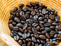 Coffee beans in basket Royalty Free Stock Photography