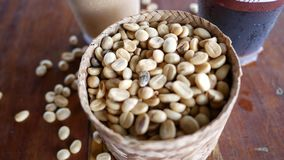 Coffee beans in the basket. Top view Coffee beans in the basket stock footage
