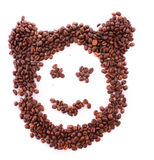 Coffee beans in bear symbol Stock Photography