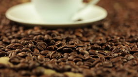 Coffee Beans BG and Cup with Steam Stock Photos