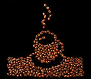 Coffee beans on a black background Royalty Free Stock Images