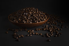 Coffee beans on a black background Stock Photos