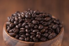 Free Coffee Beans. Black Fresh Roasted Coffee Beans.Peaberry Coffee Beans Are A Unique Coffee Bean That Have A Much Richer Flavor. Stock Images - 160461704