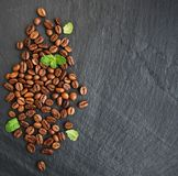 Coffee beans on a black background Royalty Free Stock Photo