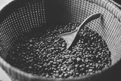 Coffee Beans. Black and White image of coffee beans in a basket Stock Photos