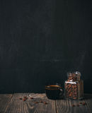 Coffee and beans on blackboard Royalty Free Stock Images