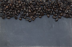 Coffee beans and blackboard Stock Photo