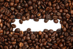 Coffee beans with blank white label in the middle Stock Photo