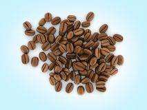 Coffee beans on blue gradient background 3d stock illustration