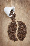 Coffee beans on the board Stock Photography