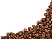 Coffee beans border. Isolated on white background stock images