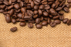 Coffee Beans Border over Burlap Royalty Free Stock Photo