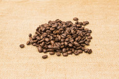Coffee Beans Border over Burlap Stock Photos