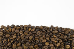 Coffee beans bottom border Royalty Free Stock Photography