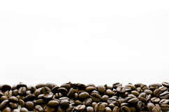 Coffee beans on bottom of white background, Coffee, Aroma, coffee template Royalty Free Stock Image