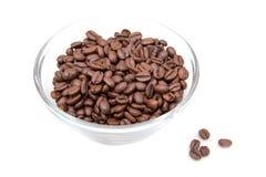 Coffee beans on bowl. On white background Stock Photos