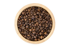 Coffee beans in a bowl on white background Royalty Free Stock Images