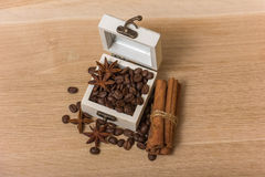 Coffee beans in a box vintage Stock Photo