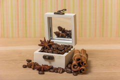 Coffee beans in a box vintage Royalty Free Stock Photo