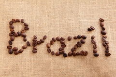 Coffee beans with brazil character Stock Photography