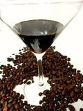 Coffee beans brown aroma liqueur glass Royalty Free Stock Photography