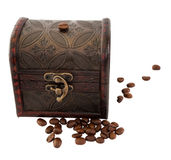 Coffee beans in the brown chest Stock Image