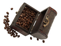 Coffee beans in the brown chest Stock Photo