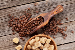 Coffee beans and brown sugar Royalty Free Stock Images