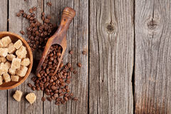 Coffee beans and brown sugar Royalty Free Stock Photography