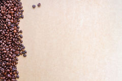 Coffee beans. Coffee beans on brown vintage background Stock Images