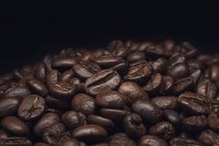 Coffee beans and coffee beans and brown wall royalty free stock image