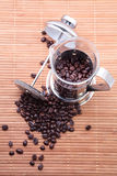 Coffee beans. Brown coffee beans on wood  background Royalty Free Stock Photography