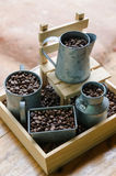 Coffee beans in bucket Royalty Free Stock Images