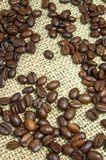 Coffee beans on burlap Royalty Free Stock Images