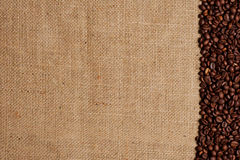 Coffee beans on burlap #2 Royalty Free Stock Photography
