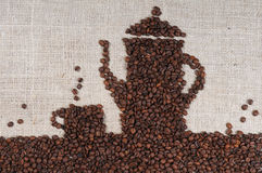 Coffee Beans on burlap Royalty Free Stock Photography