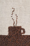 Coffee Beans on burlap Royalty Free Stock Image