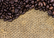 Coffee beans on burlap Stock Photo