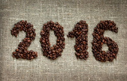 2016 from coffee beans Royalty Free Stock Images